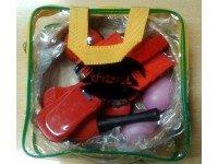 Kit de instrumentos Tribal 6 instrumentos  Kit´s de instrumentos de percussão Tribal 6 instrumentos - 1 pandeireta - 2 saker - 2 castanholas - 2 maracas - 2 guizeiras - 1 castanhola com cabo