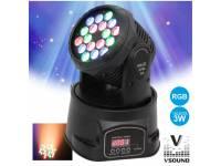 Moving Head LED VSOUND LEDMV183RGB  Cabeza móvil Mini 18 LEDS 3W RGB DMX MIC VSOUND LEDMV183RGB