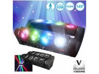 Projector LED PAR VSOUND VSPROJ810RGBW  Projector de Luz com 8 LEDS 10W CREE RGBW 2 Barras DMX VSOUND VSPROJ810RGBW