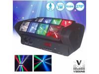 Projector LED VSOUND VSPROJ83RGBW  Projector de Luz com 8 LEDS 3W CREE RGBW 2 Barras DMX VSOUND VSPROJ83RGBW