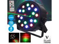 Projector LED VSOUND VSPROJPL18LA  Projector de Luz com 18 LEDS 1W RGB C/LASER DMX MIC FLAT