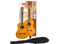 Yamaha C40 Standard Pack  Yamaha C40 Standard Pack  Conjunto de guitarra para guitarristas iniciantes composto por um saco de gig, sintonizador e uma guitarra C40II clássica com um corpo de 4/4, acabamento brilhante, tampo de abeto laminado, costas e laterais meranti, pescoço Nato e um braço de rosewood. O comprimento da balança é de 650 mm com uma largura de porca de 52 mm. Terminado em cor natural.