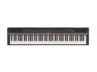 """Yamaha P-125 BK B-Stock   Yamaha P-125 BK Piano digital portátil com 88 teclas de mecanismo GHS com acabamento acetinado nas teclas pretas  polifonia de 192 notas  24 sons  20 ritmos (baixo e bateria)  conectividade USB com dispositivos iOS, PC e MAC e App """"Smart Pianist""""  Gravador interno  inclui pedal de sustain, porta partitura e fonte  Peso 11,8Kg  Compatível com nova estante L-125(opcional) e novo pedal triplo LP-1 (opcional)."""