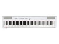 """Yamaha P-125WH   Yamaha P-125 WHPiano digital portátil com 88 teclas de mecanismo GHS com acabamento acetinado nas teclas pretas  polifonia de 192 notas  24 sons  20 ritmos (baixo e bateria)  conectividade USB com dispositivos iOS, PC e MAC e App """"Smart Pianist""""  Gravador interno  inclui pedal de sustain, porta partitura e fonte  Peso 11,8Kg  Compatível com nova estante L-125(opcional) e novo pedal triplo LP-1 (opcional)."""