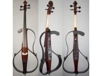 Yamaha SVC 110 Silent Cello  El cello Yamaha SVC-110 es el cello eléctrico más acústico que Yamaha haya producido. La cámara de resonancia hueca debajo de la cama de colección le da al SVC-110 un sonido más cálido y completo. Desde la habitación de al lado, sería difícil decir el sonido de este chelo del de su hermano acústico con cuerpo.