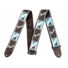 Fender Monogrammed Strap, Black Light Blue Grey Blue